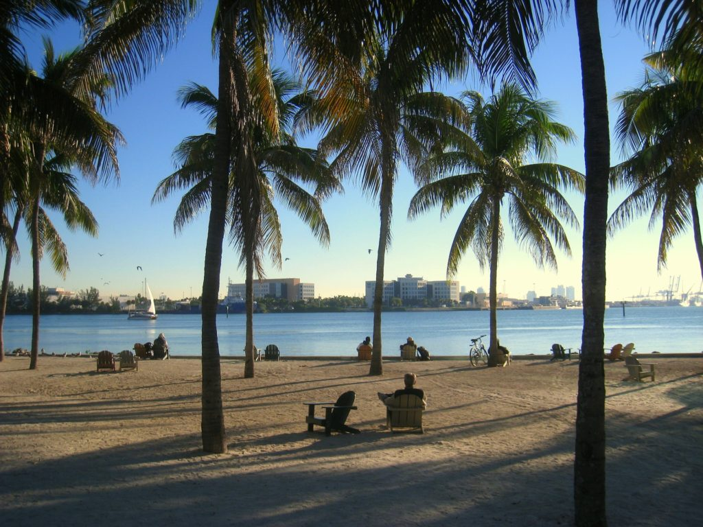 While not everyone can afford beach front property in Miami, there are plenty of public park spaces for everyone to enjoy the beach.